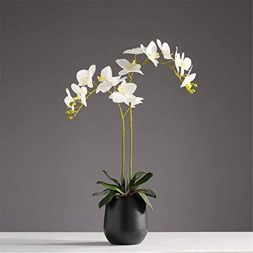 ACZZ Decorazione Grande Stile Orientale Phalaenopsis Simulazione Di Fiori Artificiali Farfalla Orchidea Bonsai Con Vaso In Ceramica Festa Di Nozze Centrotavola Per La Casa Decor, Rosa,Bianca