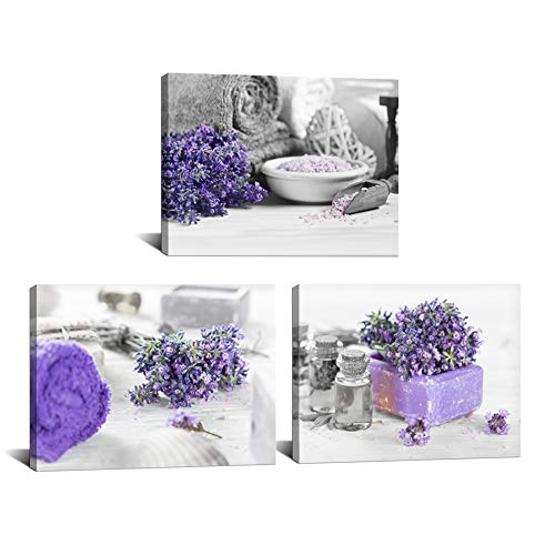3 Piece Black and White Wall Art Purple Lavender Flower Pictures Spa Treatment Salt and Towel Artwork Print on Canvas for Bathroom Salon Spa Room Decoration Framed Ready to Hang 12'x16'x3pcs