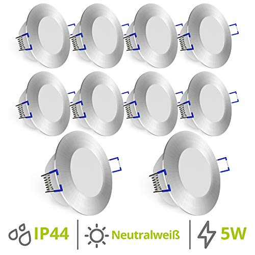 linovum WEEVO Decken Einbauleuchten LED 10er Set ultra flach - neutralweiß 5W Spot 230V rund silber - Strahler für Bad, Außen