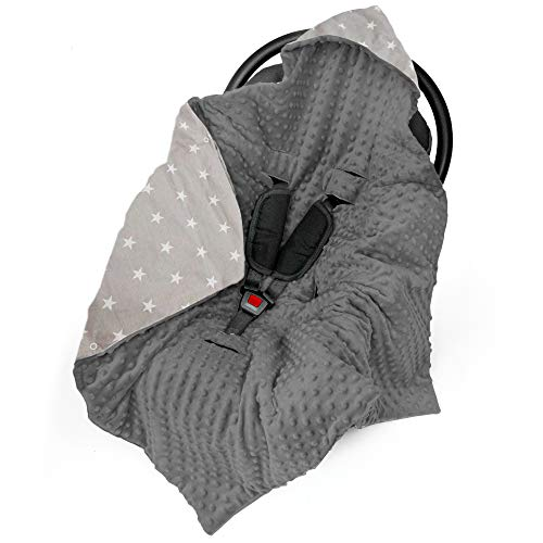 Einschlagdecke Babyschale Decke Kinderwagen 90x90cm - universal baby Babydecke z. B. für Maxi Cosi Buggy Autositz Minky Baumwolle Öko-Tex
