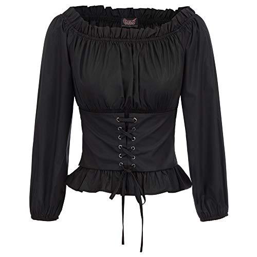 SCARLET DARKNESS Damen Renaissance Gothic Tops Off-The-Shoulder Langarm Peasant Bluse Oberteile L Schwarz SL66-1