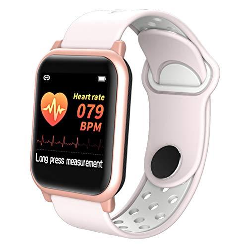Pedómetro de fitness Presión impermeable Reloj inteligente, Actividad Health Color Pantalla Toque Pantalla de sangre con cámara de sueño Monitor de ritmo cardíaco para banda deportiva,Pink gold