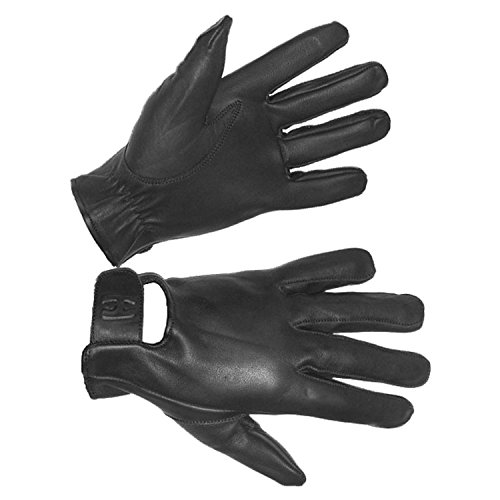 Hugger Men's Seamless Riding Water Resistant Leather for Police, Motorcycle and Driving Glove (Large Black)