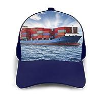 帽子 野球帽 コンテナ船 海 雲 野球キャップ スナップバックキャップ 女性帽子 男子帽子