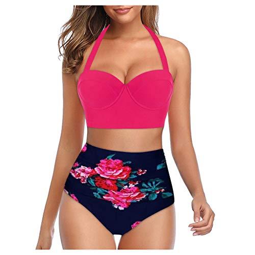 Gibobby Swimsuits for Women Tankini Women's Sexy Detachable Padded Cutout Push Up Striped Bikini Set Two Piece Swimsuit Hot Pink