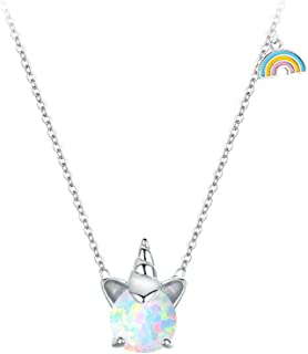 925 Sterling Silver Synthetic Opal Necklace Unicorn Necklace for Women Heart Pendant Jewelry Anniversary Birthday Gifts for Her