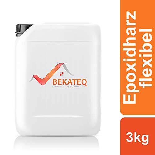BEKATEQ 2K Epoxidharz transparent flexibel 3kg, Grundierung BK-212EP Bodenversiegelung für Asphalt, PVC, Holz, Linoleum, Vinyl