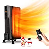 Electric Radiator Heater - 1500W Oil Space Heater with Remote, Allergy-Friendly, No Noise, Dual-Safety Protection, Oil...