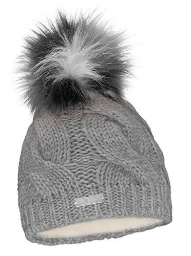 Mikos* Damen Warme Strickmütze mit Bommel | Innenfleece Damenmütze Gestrickte Bommelmütze | Mütze für Winter | Weiche Wintermütze | Farbenauswahl (685) (Grau)