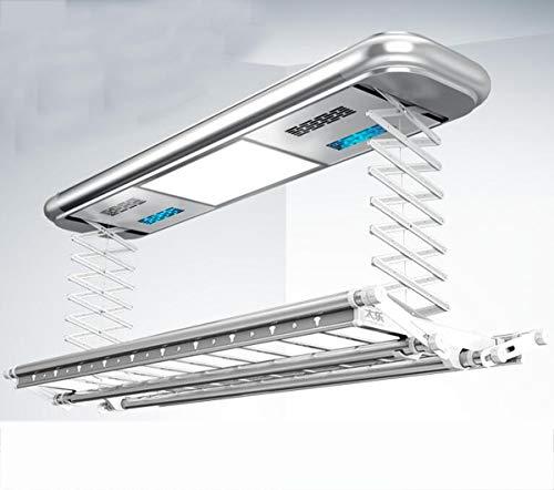 NANXCYR 9003 Elektrische droogrek voor plafondmontage, elektrisch droogrek met afstandsbediening, led-verlichting, uv-desinfectie, drogen en drogen in vakken, zilverkleurig