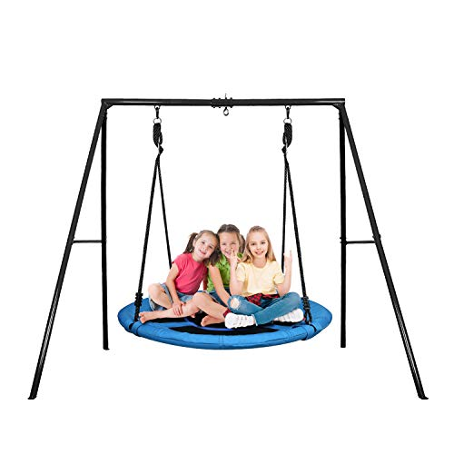 Trekassy 440lbs Swing Set with 40 Inch Saucer Tree Swing, Swivel and Heavy Duty A-Frame Metal Swing Stand