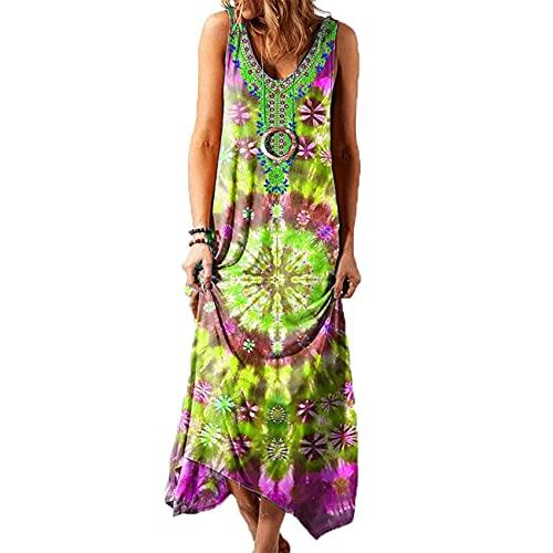 Primavera Y Verano Moda Mujer Estilo éTnico Suelto Casual Estampado Chaleco Vestido Largo