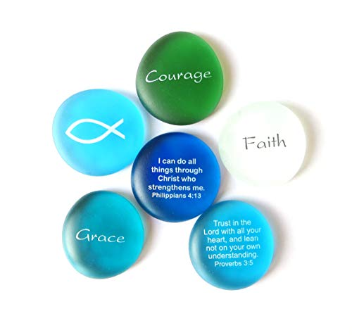 Lifeforce Glass The Glow of Faith Frosted, Scriptures and Expressions of Faith on Frosted Sea Glass Stones, Inc, Set I