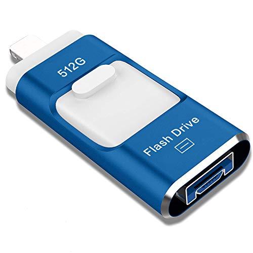 Sttarluk USB-Stick 512 GB, Foto-Stick USB 3.0 für iPhone/iPad, externer Speicherstick kompatibel mit iPad/iPod/Mac/Android/PC (512 G) Blau
