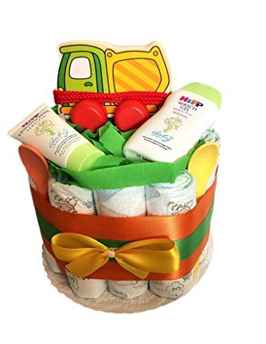 Tarta de pañales mágica para niños y niñas con diseño de hormigonera, regalo para baby shower, bautizo o nacimiento