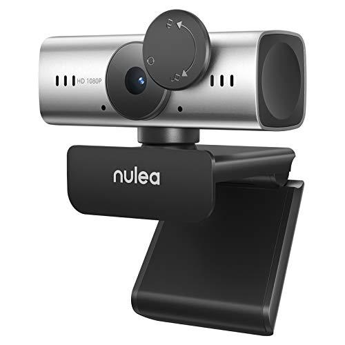 Nulea C905 Autoenfoque Webcam con Micrófono, Full HD 1080P/ 30 fps con Cubierta de Privacidad, Cámara Web USB para PC/Computadora Portátil/Videoconferencia de Skype/Youtube/Zoom (Gris)