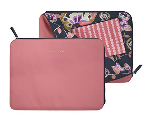 Steel Mill and Co. Laptop Sleeve with Zip Closure and Clip-in Storage Pouch, Fits up to 15' Computers, Work for It (Poppy Floral)