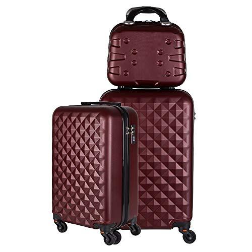 Kit duas malas bordo com frasqueira de mao em ABS - Roncalli Ruum (Vinho)