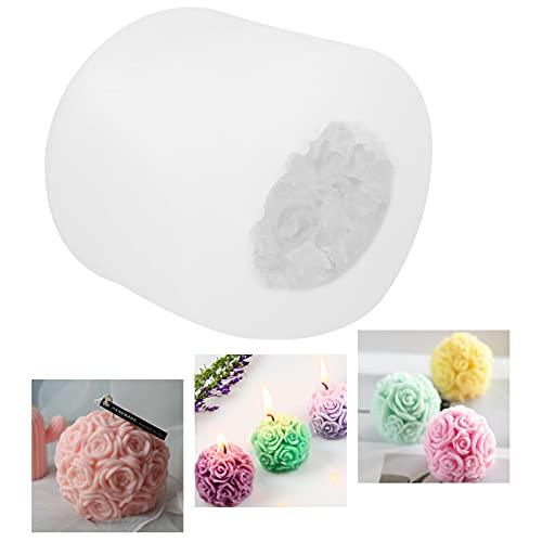 Stampo per candela, 3D, in silicone, a forma di candela 3D, a forma di palla di fiori di rosa, in silicone, per fai da te, ideale per artigianato, ornamenti, fondant, candele profumate