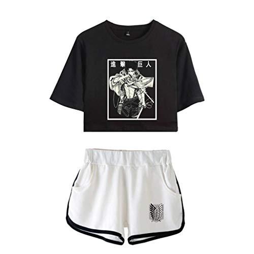 KIACIYA Attack On Titan Camiseta y Pantalones Cortos,Attack On Titan Anime Camiseta,Shingeki no Kyojin Camiseta de Manga Corta Tops Conjuntos Deportivos de Dos Piezas para Mujer,Levi Ackerman (C1,S)
