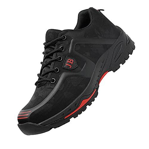 Zapatillas de Industria y construcción para,Punta de Acero Zapatos Ligero Zapatos de Trabajo Respirable Construcción Zapatos Botas de Seguridad,Black Red▁44