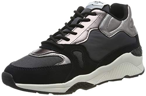 Pepe Jeans London Damen Harlow UP Run Hohe Sneaker, Schwarz (Black 999), 39 EU
