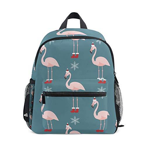 ALINLO Kinder Schultasche Flamingo mit Weihnachtsmütze Muster Vorschulrucksäcke Kinder Reise Tagesrucksack für Jungen Mädchen