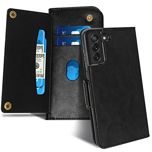 """Capa tipo carteira FYY para Samsung Galaxy S21 Plus 5G 6,7 polegadas, Capa tipo carteira de couro de luxo com [slots para cartão] para Samsung Galaxy S21 Plus 5G 6,7"""" Preto"""