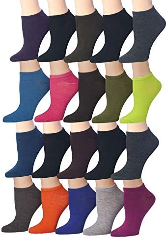 Tipi Toe Women s 20 Pairs Colorful Patterned Low Cut No Show Socks WL12 AB product image