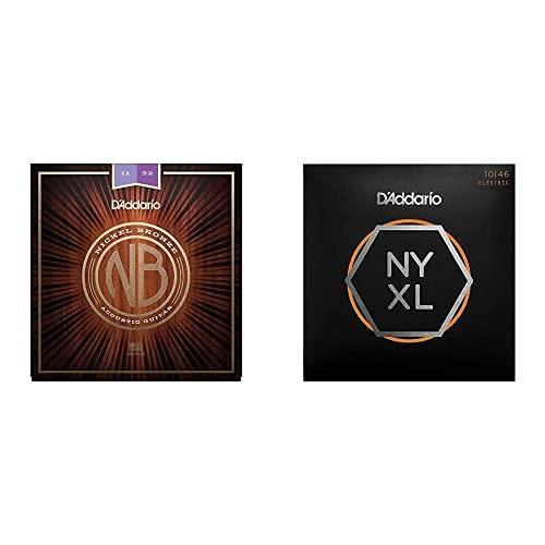 D'Addario Nb1152 - Juego De Cuerdas Acústicas, Custom Light 11-52 + Nyxl1046...