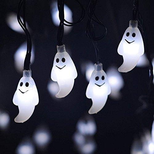 Guirlande lumineuse solaire 20 LED pour Halloween Décoration de fée Corde Lumière pour extérieur Noël Patio Pathway Jardin Party (Blanc)