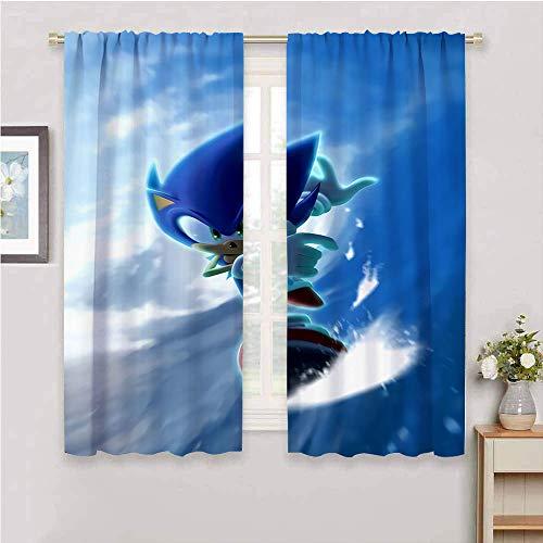 Cortinas opacas con aislamiento térmico Sonic the Hedgehog con bolsillo para barra de ahorro de energía, cortinas opacas de 55 x 63 pulgadas