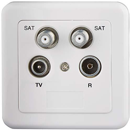 HUMAX Digital HAT 52 4-Loch Antennen Enddose (2x SAT, 1x Fernseher, 1x Radio Ausgang) mit Abdeckung