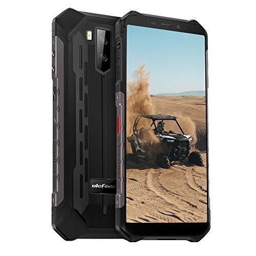 Ulefone Armor X5 (2020) 4G Android 10 Outdoor Handy Smartphones, 32GB Speicher 3GB RAM 5000mAh Akku Smart Button wasserdichte Kamera, Unterwassermodus, Handschuhmodus, 5,5 Zoll, Face FM Schwarz