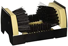 Brushes clean both sides of boots Crossbar cleans bottom of boots Mount to concrete wood floor or ground