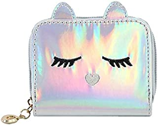 moca Holographic womens little Girls Kawaii Wallet Womens Girls Ladies Female Short Mini Small Clutch Wallet purse for womens Women's Ladies