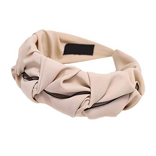DealMux - Pañuelo de retales de malla plisada con volantes y color caramelo sólido para mujer, beige