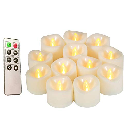 Led Flickering Flameless Votive Tea Lights Candles With Remote Control Battery Operated Set Of 12 / Electric Outdoor Tealights Timer Candle For Christmas,Xmas Decorations (Batteries Included) 200Hours