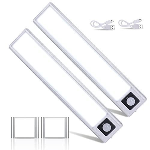 2Piezas*Luz Armario 31LEDs,USB Recargable Luces Armario con detector de movimiento y banda magnética para,3 Modos Lámpara LED de Armario con Tira Magnética,Ideal para Armario Garaje Gabinete Escalera