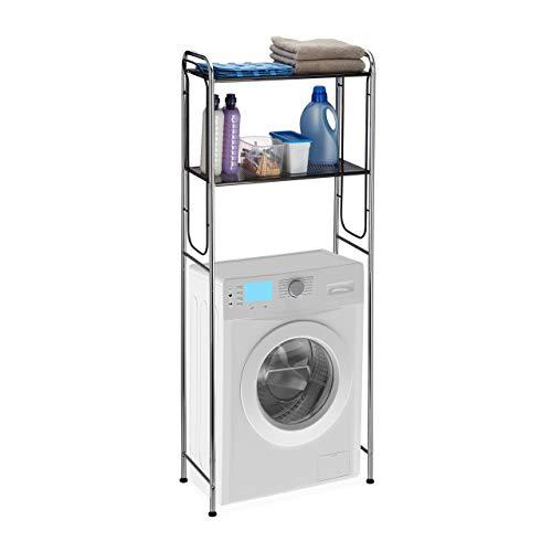 Relaxdays, Chrom/schwarz Überbauregal Waschmaschine, WC-Regal mit 2 Ablagen, Waschmaschinenregal HBT 151 x 65 x 28 cm