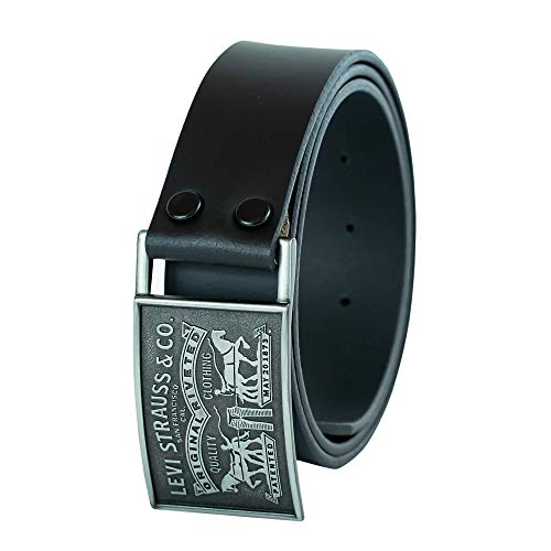 Levi's Men's 1 1/2 in.Plaque Bridle Belt With Snap Closure,Black,Large(38-40)