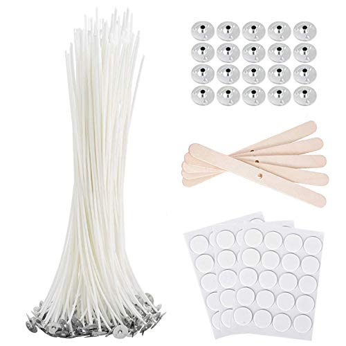 Bulk Cotton Candle Wick 8' Pre-Waxed 80 Pcs with 60Pcs Candle Wick Stickers,...