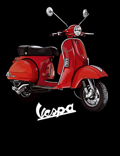 Vespa Notebook: An elegant 110-page 7.44''x 9.69'' Wide Ruled Lined Composition Notebook with Red Vespa [Idioma Inglés]