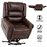 Mecor Power Lift Chair Dual Motor PU Leather Lift Recliner for Elderly Lay Flat Sleeper Recliner with Massage/Heat/Vibration/Remote Control for Living Room