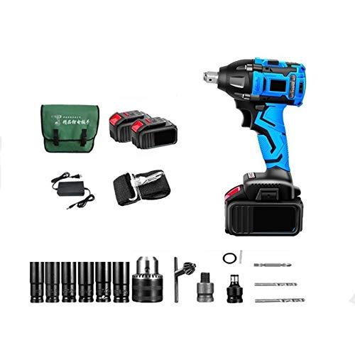 XDXDO 1/2 Pulgada Llave De Impacto Sin Escobillas 20V Llave De Combinación De Batería De Litio Multifuncional 20V, con Zócalo Y Batería 2X3.03, Torque: 380Nm, Velocidad: 3200 RPM