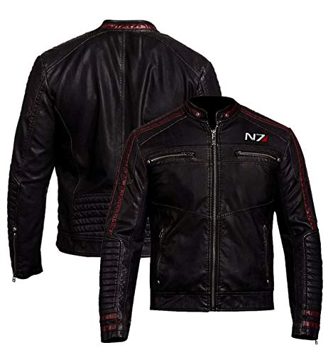 N7 Mass Effect Commander Shepard Street Fighter Biker style Real Leather Jacket for Mens (XXLarge)