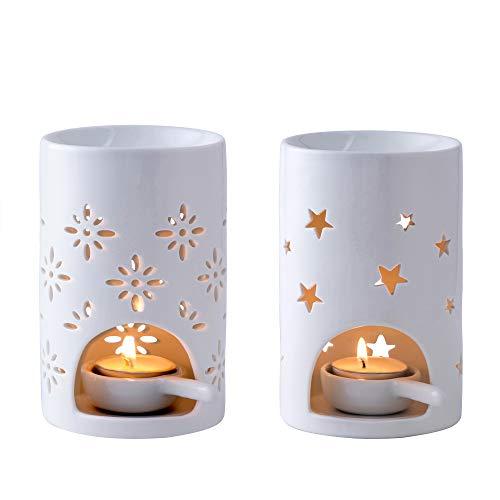 LOVECASA Duftlampe Keramik, Duftlampe mit Kerzenhalter- 2 teilige Aromalampe Teelichthalter mit der Löffel- große Wasserschale für Lange Brenndauer- Sterne und Blumen Muster