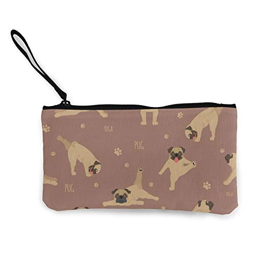PugCanvas - Monedero para perros y ejercicios de yoga, bolsa de cosméticos con cremallera, bolsa para teléfono móvil con asa