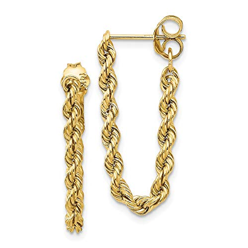14k Yellow Gold Rope Post Stud Earrings Drop Dangle Fine Jewelry For Women Gifts For Her