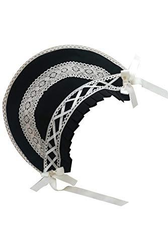 Lolita Hut Stirnband Frauen viktorianischen Dienstmädchen-Haarband Rüschen Schnürung Kopfschmuck Kappe Gr. One size, Schwarz